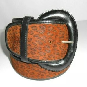Suede Leopard Wide Belt by Accessories By Pearl